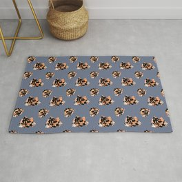 Peach Pink Black White and Denim Abstract Roses Rug