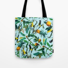 Fruit and Birds Pattern Tote Bag