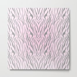 Hipster blush pink gray abstract zebra animal print Metal Print