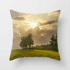Sunset field Throw Pillow