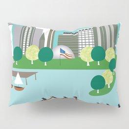 Boston, Massachusetts - Skyline Illustration by Loose Petals Pillow Sham