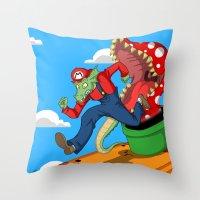 mario Throw Pillows featuring Mario? by ShelbyDenham