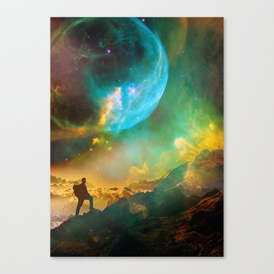 Vibrant Space Hiker Canvas Print