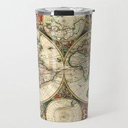 Old map of world hemispheres. Created by Frederick De Wit, 1668 Travel Mug