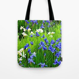 BLUE & WHITE  IRIS FLOWER GARDEN Tote Bag