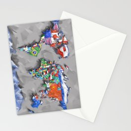 world map with flags Stationery Cards