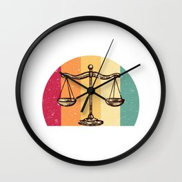 Scales Of Justice Lawyer Retro Gift Idea Wall Clock