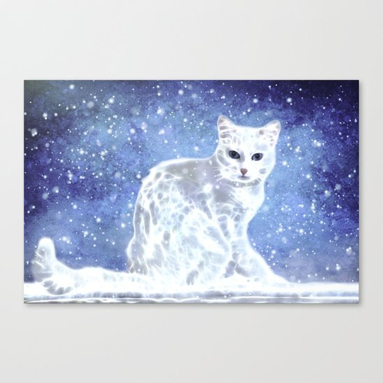 Abstract white cat Canvas Print