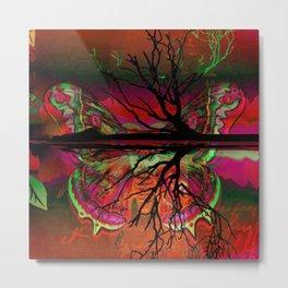 Haunted Neon Butterfly Metal Print
