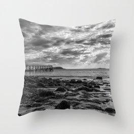 Magnolia Pier #2 B&W Throw Pillow