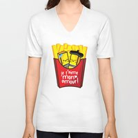 fries V-neck T-shirts featuring French Fries by Kleviee