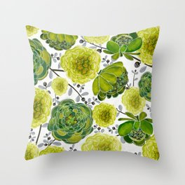 Green Cabbage Roses Throw Pillow
