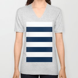 Wide Horizontal Stripes - White and Oxford Blue Unisex V-Neck