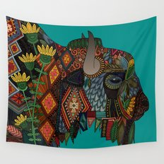 bison teal Wall Tapestry