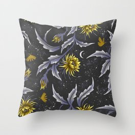 Queen of the Night - Grey Yellow Throw Pillow