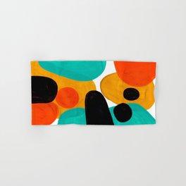 Mid Century Modern Abstract Minimalist Retro Vintage Style Rolie Polie Olie Bubbles Teal Orange Hand & Bath Towel