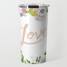 Love Pink Flower Wreath Travel Mug