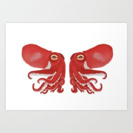 Red squid confrontation Art Print