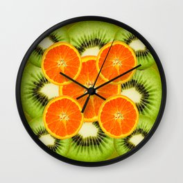 GREEN KIWI & JUICY ORANGE SLICES MODERN ART Wall Clock