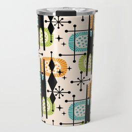 Retro Atomic Mid Century Pattern Orange Green and Turquoise Travel Mug