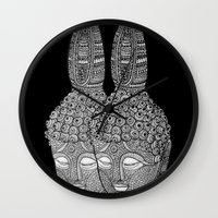 meditation Wall Clocks featuring Meditation by Luna Portnoi