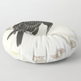 Koson Ohara - Crow with Kaki Fruit - Japanese Vintage Ukiyo-e Woodblock Painting Floor Pillow