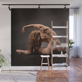 3116s-DEW Beautiful Bare Back Muscles Yoga Side Stretch Fine Art Nude Fit Woman Strong Long Blonde Wall Mural