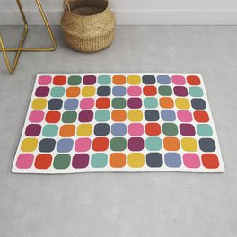 Colorful Mid Century Modern Rounded Square Tile Pattern Rug