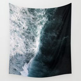 Oceanscape - White and Blue Wall Tapestry