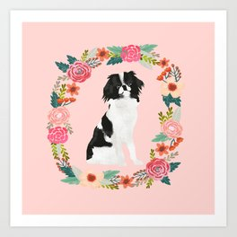japanese chin floral wreath dog breed pet portrait pure breed dog lovers Art Print