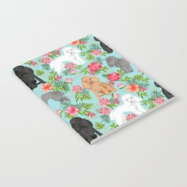 Toy Poodle dog breed pet portraits hawaiian floral flowers dog pattern custom dog lover art Notebook