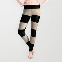 Simply Striped White Gold Sands on Midnight Black Leggings