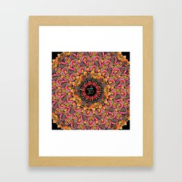 Pug Yoga Mandala Framed Art Print