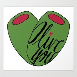 Olive You - Vegetable Puns Art Print
