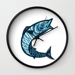 Wahoo Fish Jumping Isolated Retro Wall Clock