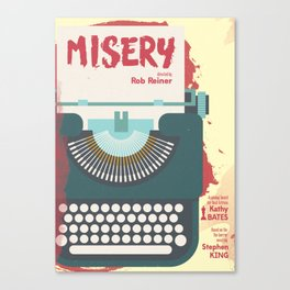 Misery, Horror, Movie Illustration, Stephen King, Kathy Bates, Rob Reiner, Classic book, cover Canvas Print