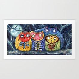 Dia de Muertos Owl Party Art Print