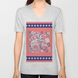 pink floral doodle pattern with watering can Unisex V-Neck