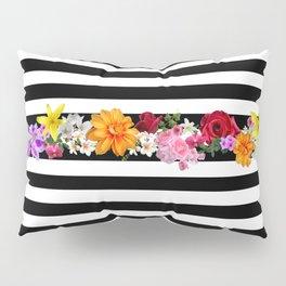 flowers on black and white stripes Pillow Sham