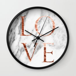 Rose gold marble LOVE Wall Clock