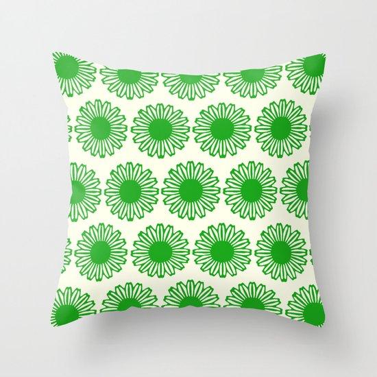 vintage flowers green Throw Pillow