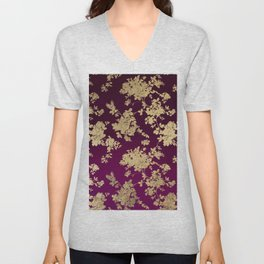 Chic faux gold burgundy ombre watercolor floral Unisex V-Neck