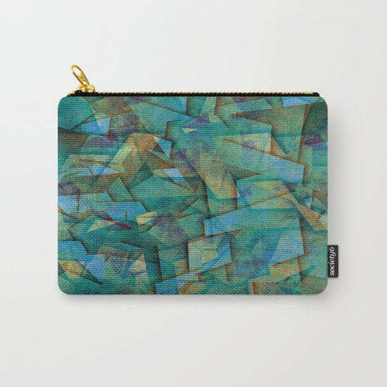 Fragments In blue - Abstract, fragmented art in blue Carry-All Pouch
