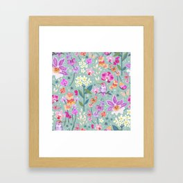 Orchid Garden on Sage Green Framed Art Print