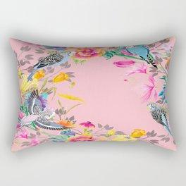 Stardust Pink Floral Birds Motif Rectangular Pillow