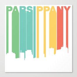Retro 1970's Style Parsippany New Jersey Skyline Canvas Print