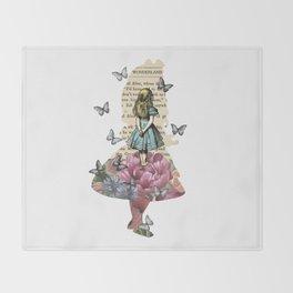 Alice In Wonderland Magical Garden - Vintage Book Throw Blanket