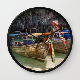 Traditional Longboats in Thailand Wall Clock