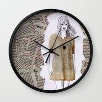 newspaper Wall Clocks featuring Newspaper by Melania B