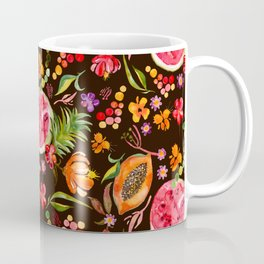 Tropical Fruit Festival in Black | Frutas Tropicales en Negro Coffee Mug
